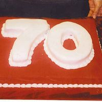 70Th Birthday This was for my Grandpa, my Grandma just wanted the 70 and it had to be mostly red. The red is BC and the 70 is covered in fondant. The...
