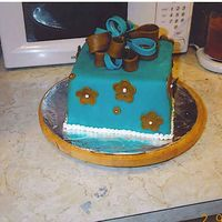 Teal & Brown All fondant covered with fondant accents.