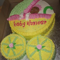 Baby Carriage Cake Red Velvet cake. All buttercream with fondant details