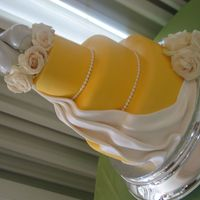 Wedding Cake With Drape Uggh...this wedding cake was tough from beginning to end, but finally got it worked out at the end. Mango curd leaking, fondant tearing,...