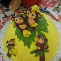 Monkey Bday Cake MMF monkeys, chocolate banana cake with pb frosting