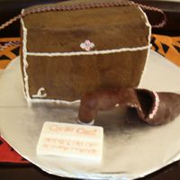 My Mom's Birthday Cake I made this for my mom's birthday. She loves shoes and purses, and she's a shopaholic. The purse is a butter cake with chocolate...