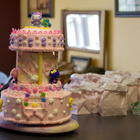 "Hello Kitty Carousel This is a ""Hello Kitty Carousel"" cake I made for a little girl's sixth birthday...her party theme was Carnival Time... the..."