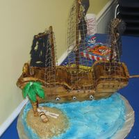 Pirate Ship Made this pirate ship cake for my nephews 3rd birthday. It is all edible except for the netting and the mast. Everything else is either BC...