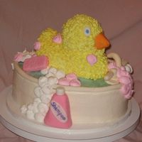 Duck In Bath Tub babyshower cake, buttercream icing, foundant shampoo, soap, ect.