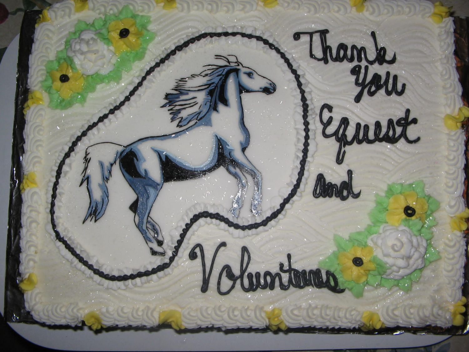 Horse Drawing 12 sheet buttercream, handpainted horse,(on thin sheet of fondant.done for a theriputic horse barn.