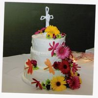 Dragonfly Wedding buttercream icing, hand made dragonflys, fresh flowers