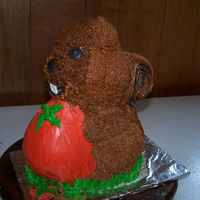 Squirrel made this squirrel from the standup rabbit pan for my neighbor. the squirrels were stealing all her tomatoes. chocolate cake with...
