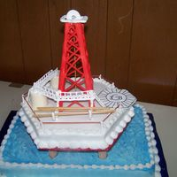 Oil Rig (Offshore) made this offshore rig for a grooms cake. bottom sheet cake is the ocean. hexagon shaped pan was used for the rig platform. rig derrick &...
