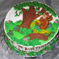 Monkey In The Jungle  Chocolate Italian cream cake and filling from this site, BC icing. I found the jungle pattern in an old Wilton yearbook. Monkey was...