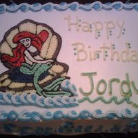 Little Mermaid sheet cake w/Little Mermaid transfer.