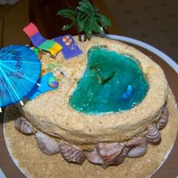Caribbean Birthday Cake Close up view of cake top