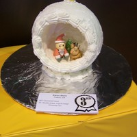 Ornament Cake Dummy cake carved and deocratesd royal icing and fondatn figures for local county fair