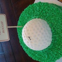 "Ping! Happy Birthday to the golf lover! Devil's food cake under the ""grass"", and citrus pound cake covered in buttercream and..."