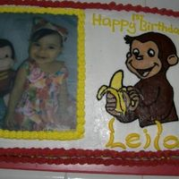 Curious George   My first time doing an edible image and fbct...and the biggest cake I have made so far... 1/2 sheet.