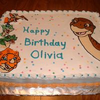 Land Before Time All buttercream cake with buttercream transfer Land Before Time Characters