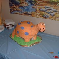 3D Dinosaur The neck, head and tail were made from rice krispie treats, and the base of the cake is a styrofoam board, with styrofoam eggs glued on for...