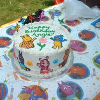 Backyardigans All Buttercream cake, with buttercream transfer Backyardigan's characters.I put some pinwheel picks on the top of the cake for fun.
