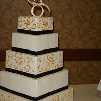 Black And Gold Square Wedding Cake