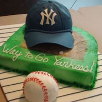 Baseball Cake This has to be one of my all-time favorites! Fondant covered board, 12x12 square with the back rounded to resemble baseball field (green...
