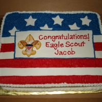 Eagle Scout Cake Double layer of chocolate and butter cake with bavarian creme filling. All buttercream except for boy scout emblem which fondant made from...