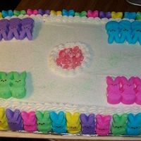 Easter Bunny Peep Cake A colorful Easter cake I made recently, I used my favorite frosting and stuck the Easter Bunny Peep's around the outside edge. Turned...