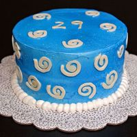 Blue Cake With White Swirls Everything about this cake was experimental and as you can see, most of it ididn't work. The buttercream (from the Whimsical Bakehouse...