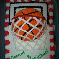 Basketball A qucksheet cake with a half ball pan. All done in buttercream for my nephews who love the game!!