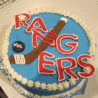 Rangers Hockey My daughter asked for a cake for her teacher (who is a hockey fan) at 10:30 at night! So I baked and then threw this togehter in about 15...