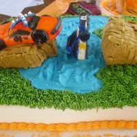 General Lee  Pic of a guys 40th birthday cake. Tried to make it look like Gen Lee jumping over a broken bridge over a lake and the cop car landed in the...