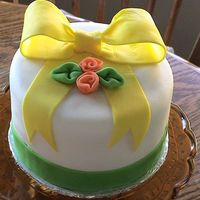 Yellow Bow   MM Fondant....Thank you cake