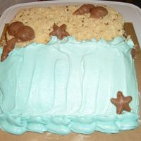 "Beach Scene Birthday Cake Devils food cake with buttercream dream frosting, crushed Pecan Sandies ""sand"" and chocolate shells. A quick cake for mom's..."