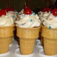 4Th Of July Ice Cream Cone Cupcakes Red velvet white chocolate cupcakes with cream cheese frosting, star sprinkles and a cherry on top.