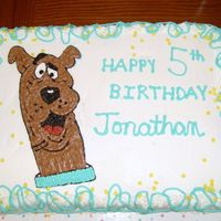 Scooby Doo Birhday Cake Yellow butter cake with buttercream frosting, chocolate frosting for Scooby. Made for my nephew's 5th birthday.