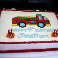 Firetruck Cake Butter cake with vanilla buttercream frosting and edible image firetruck. Made for my nephew's 4th birthday... he loved it!