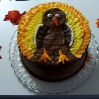 Thanksgiving Turkey Cake Vanilla Butter cake with Chocolate Buttercream filling and frosting.