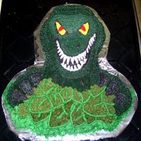Dinosaur Cake This is done using the Wilton t-rex cake pan, the cake is vanilla and the icing is all buttercream.
