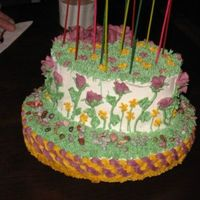 "Flower Garden Cake I used the oval cake pan (from the wilton #2 course finale cake) and since my dh thought it too small, I added a 10"" round at the the..."