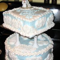 Baptism Cake The top layer was going to be a cross, but then I was afraid I wouldn't have enough (there was too much anyway!) so I left it whole,...