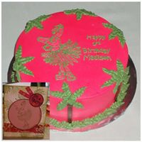 Pink Flamingo Palm Trees   8 inch round cake with flamingo and palm trees. Made to look like birthday invitiation. Done with projector. All Buttercream.