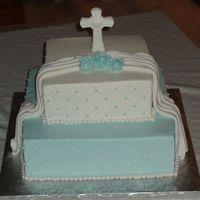 First Communion  First communion cake, 12 inch and 8 inch square.First time doing a fondant drape; i was happy with it. BC iced, impression mat, bc dots and...