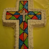 Stain Glass Cross stain glass cross, choclate pound cake with BC icing, gel color for stain glass