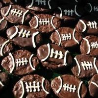 Football Brownies homemade brownies with melted chocolate spread on top and white chocolate laces, these were made for a huge superbowl party, they went over...