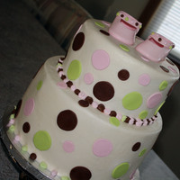 Polka Dot Baby Shower Cake And Shoes Gumpaste shoes
