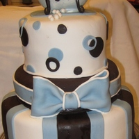 Boy Baby Shower Cake WASC with cherry balsamic black pepper syrup, chocolate ganache filling and fondant. Tub and baby GP. TFL!