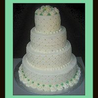 Green And Gold 4 tier round cake, 6,9,12,and 15 inch layers. All buttercream, used diamond impression mat with luster dusted pearls. Thanks for looking.
