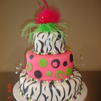 Graduation Party Cake  Zebra print graduation cake. This cake started out as a disaster but finished the second version of the cake 30 minutes before it needed to...