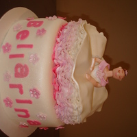 Ballerina Strawberry Cake with buttercream frosting and fondant.