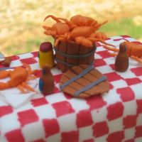 "Maryland Crab Feast Cake Topper This is the top to a birthday cake I made for my sisters' birthday. The table measures 6"" x 2.5"" and the crabs are about 3/4..."