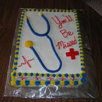 Farewell Cake Chocolate cake with buttercream icing and fondant accents. A farewell cake for our peciatric surgeon.